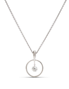 White Gold Dancing Euro Cut Diamond Pendant - Charles Koll Jewellers