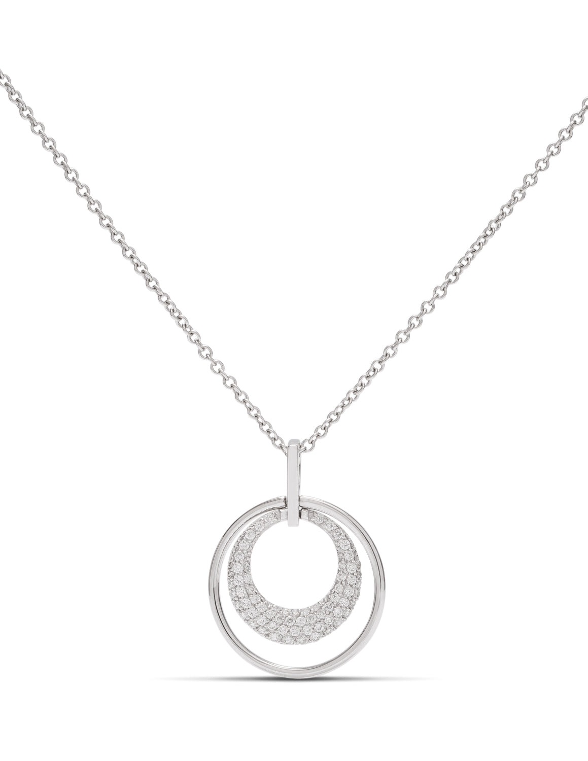 Double Circle Pave Pendant - Charles Koll Jewellers