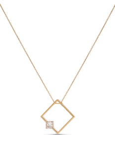 Yellow Gold Square Silhouette Diamond Pendant - Charles Koll Jewellers