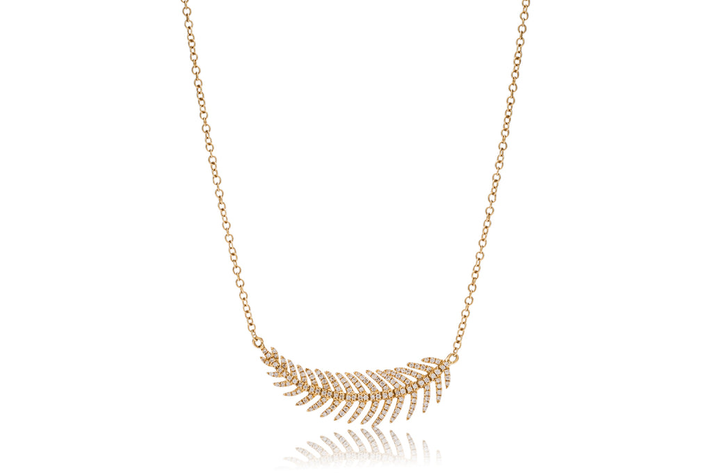 Diamond Feather Necklace - Charles Koll Jewellers