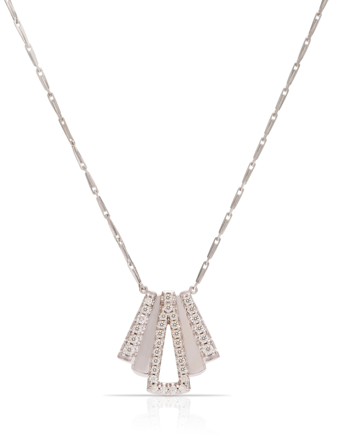 18K White Gold 34 Diamond Layered Necklace