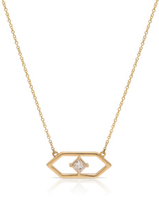 18K Gold Geometric Diamond Necklace