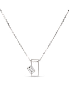 18k White Gold Emerald Cut Diamond Necklace - Charles Koll Jewellers