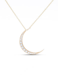Yellow Gold Diamond Crescent Moon Pendant - Charles Koll Jewellers