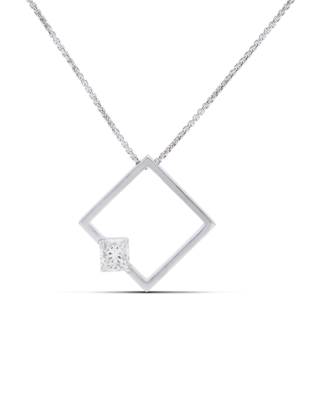 Princess Cut Diamond Square Pendant - Charles Koll Jewellers