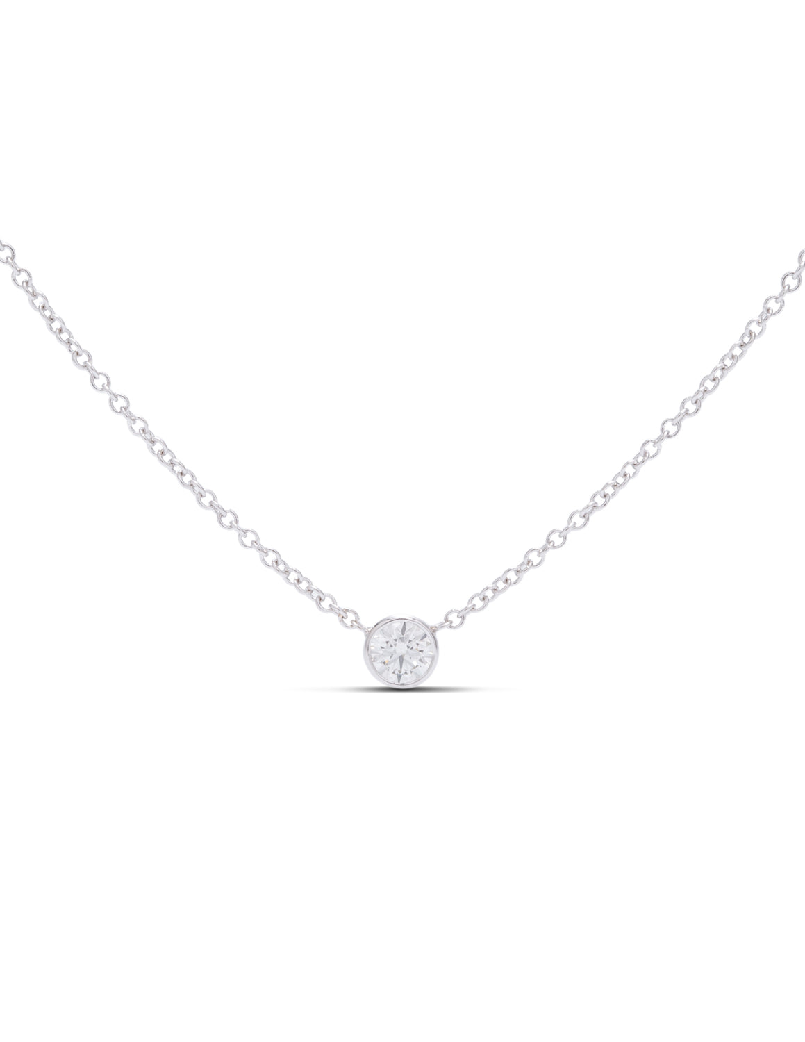 Delicate Bezel Set Diamond Solitaire Pendant - Charles Koll Jewellers