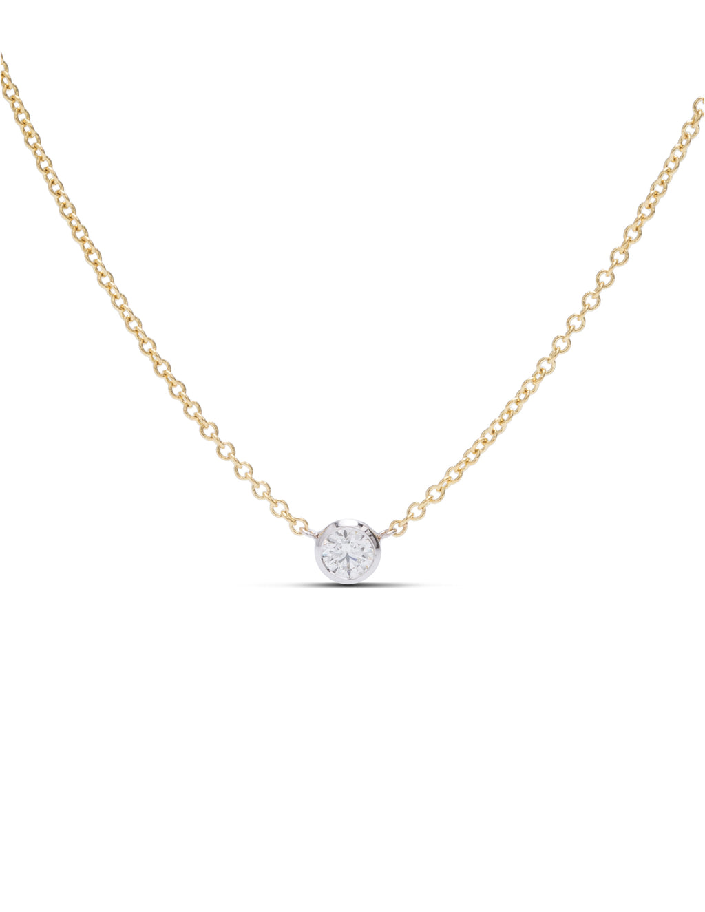 Delicate Bezel Set Diamond Solitaire Necklace - Charles Koll Jewellers