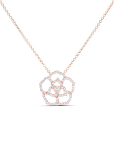 Rose Gold Diamond Flower Necklace - Charles Koll Jewellers