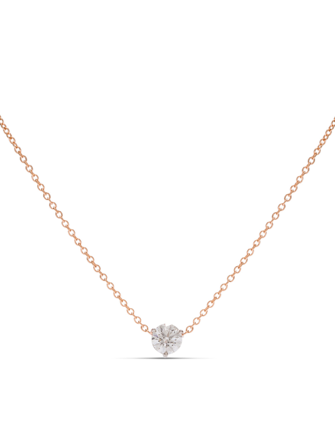 18k Rose Gold & Platinum Hearts on Fire Diamond Necklace - Charles Koll Jewellers