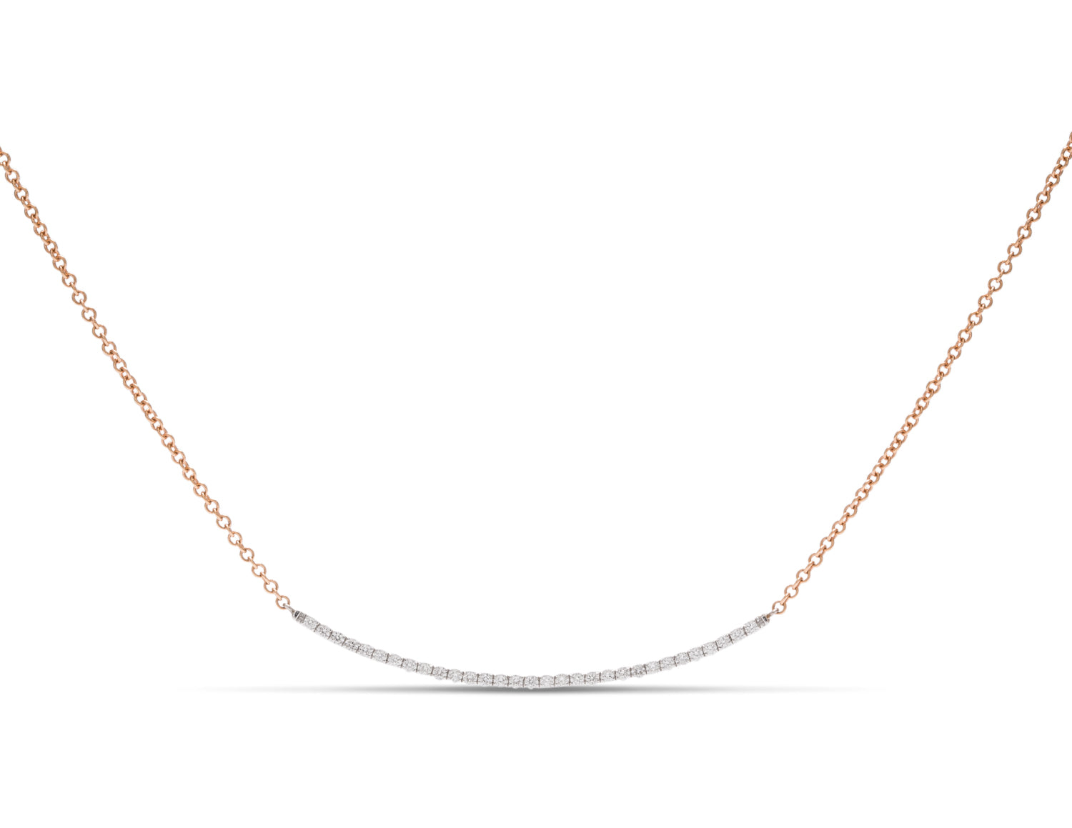 18k White Gold Diamond Bar Necklace - Charles Koll Jewellers