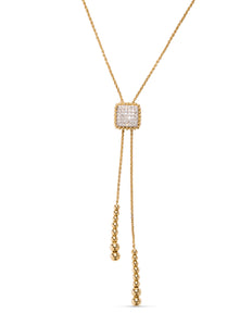18k Yellow & White Gold Diamond Beaded Bolo Necklace - Charles Koll Jewellers