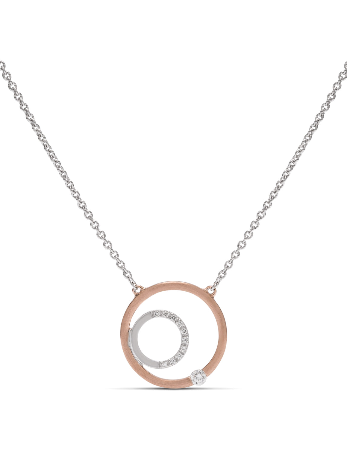 Two-Tone Double Circle Necklace - Charles Koll Jewellers