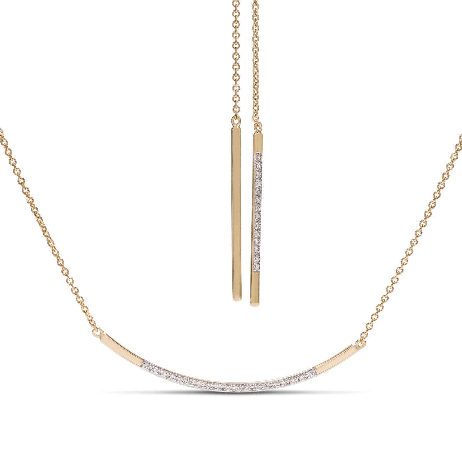 Diamond Bar Scarf Necklace - Charles Koll Jewellers