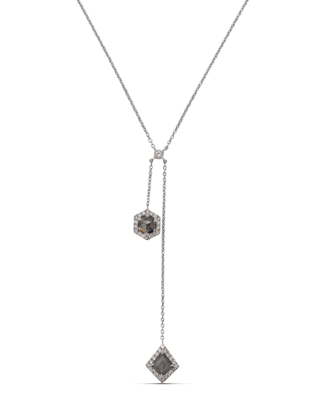 Double Rough Grey Diamond Necklace - Charles Koll Jewellers