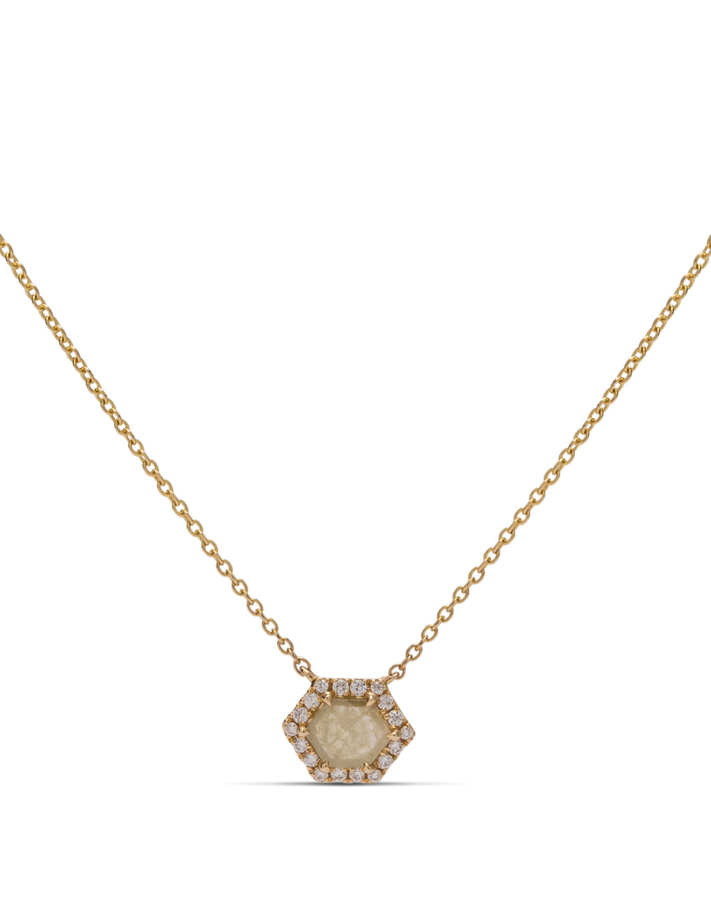Yellow Cushion Shaped Rough Diamond Necklace - Charles Koll Jewellers