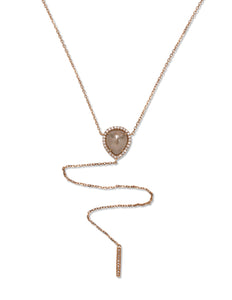 Pear Shaped Rough Diamond Necklace - Charles Koll Jewellers