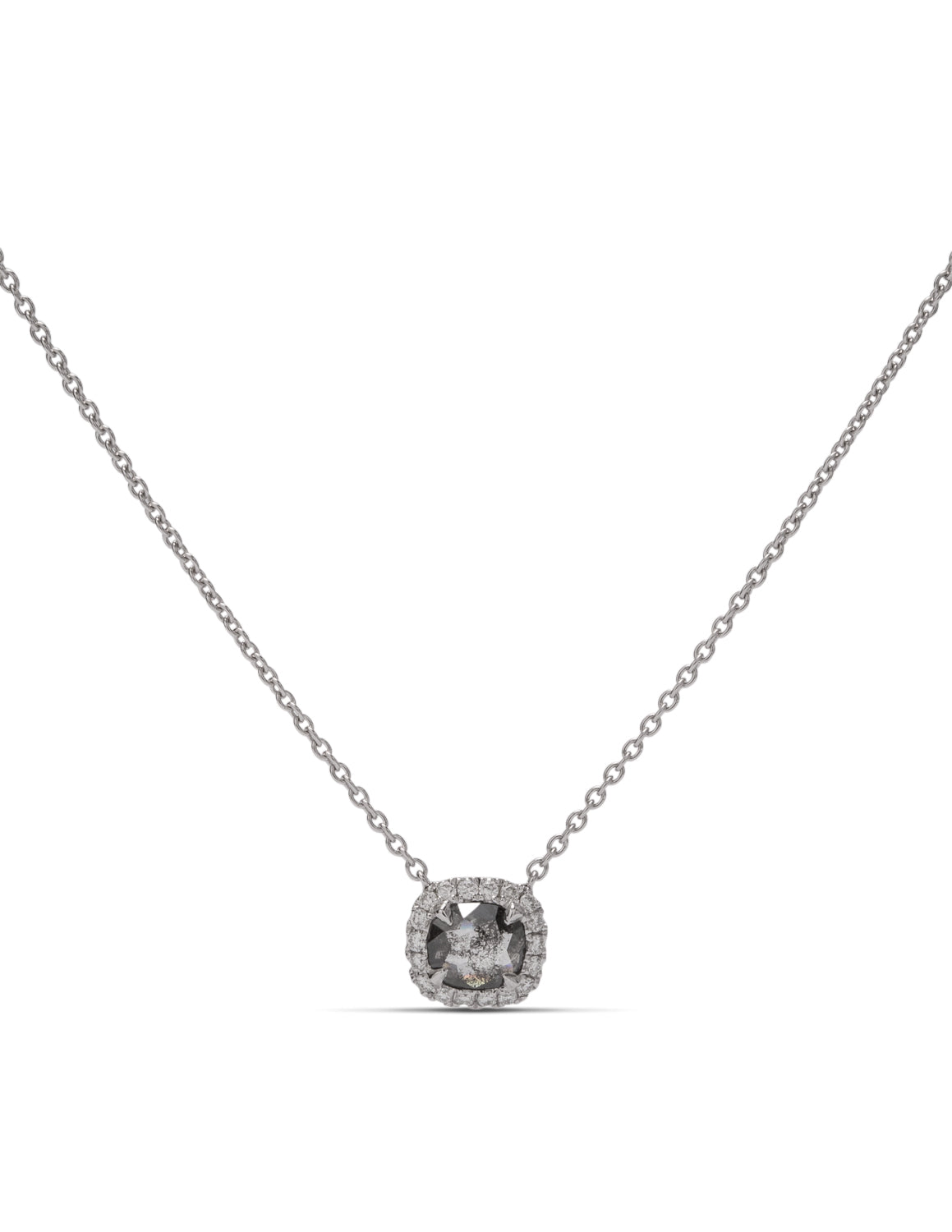 Rough Grey Cushion Shaped Diamond Necklace - Charles Koll Jewellers