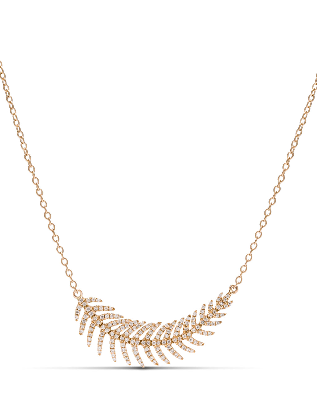 Yellow Gold Diamond Feather Necklace - Charles Koll Jewellers