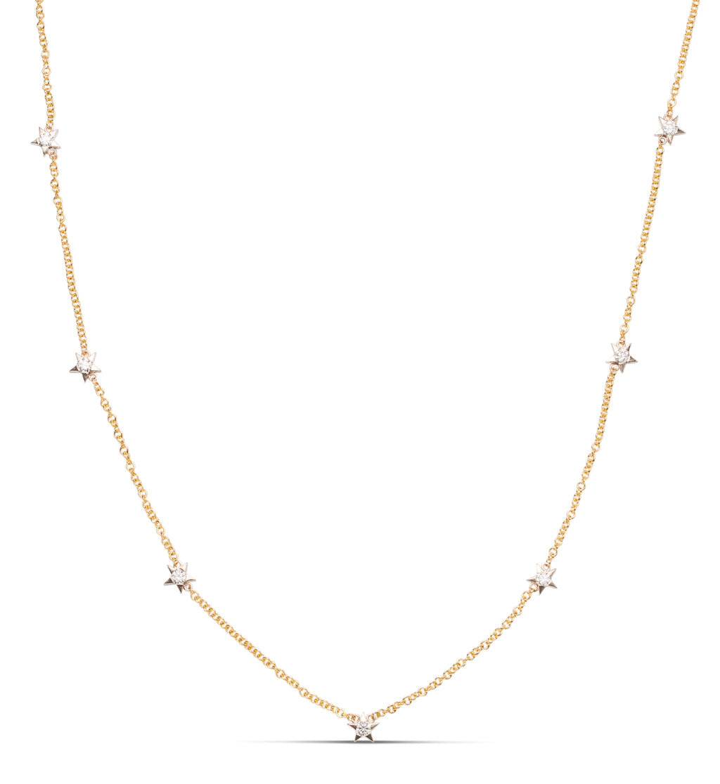 Two-Tone Star Diamond Necklace