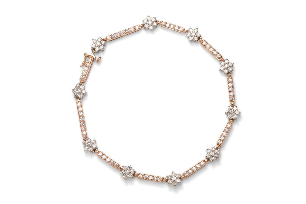 Two Tone Diamond Flower Bracelet - Charles Koll Jewellers