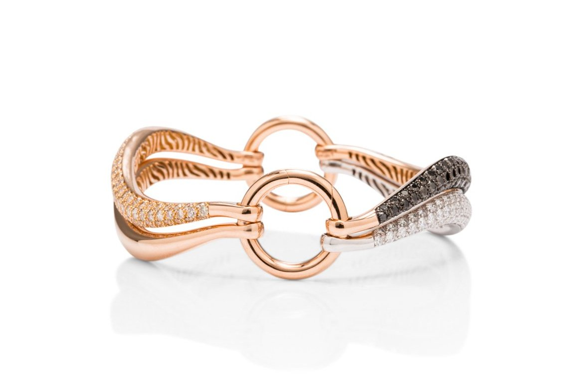 Rose Gold Bracelet With Interchangeable Diamond Rows - Charles Koll Jewellers