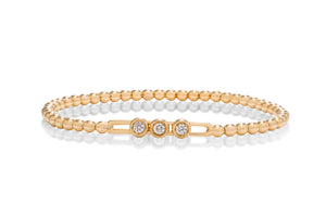 18k Gold Stretch Beaded Diamond Bracelet - Charles Koll Jewellers