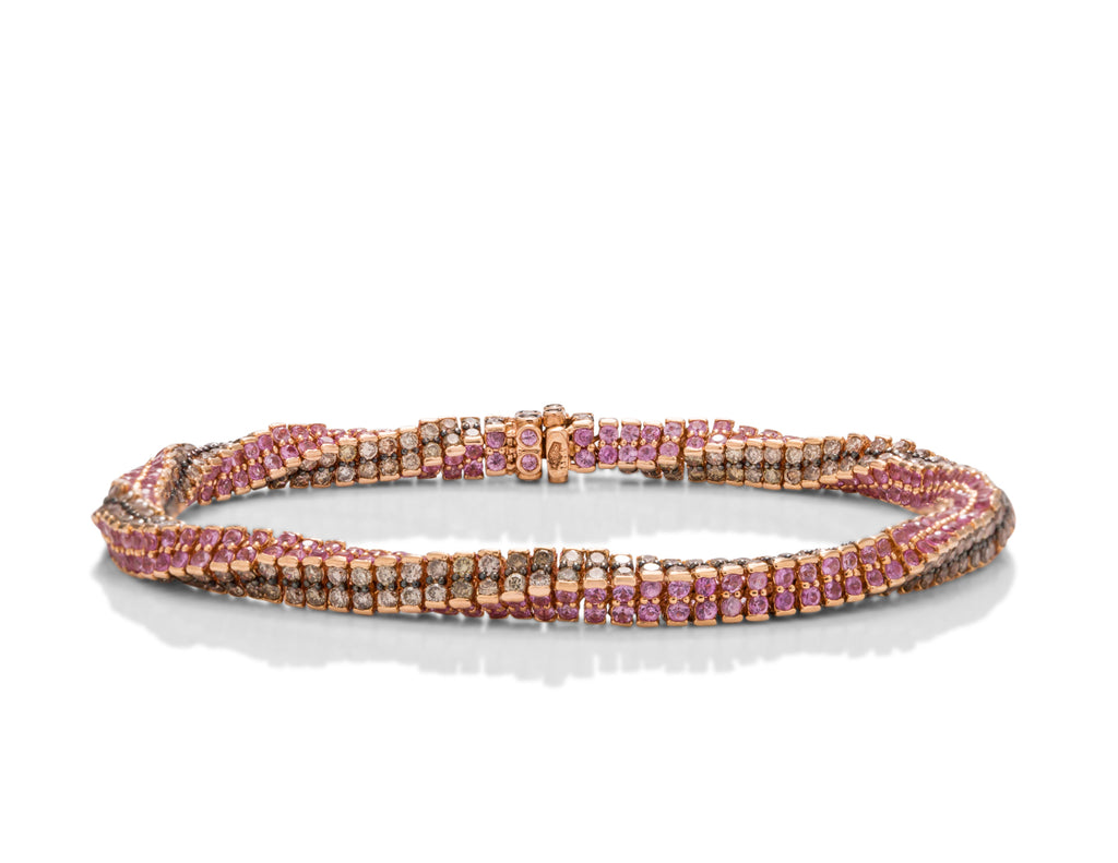 Champagne Diamond and Pink Sapphire Bracelet - Charles Koll Jewellers