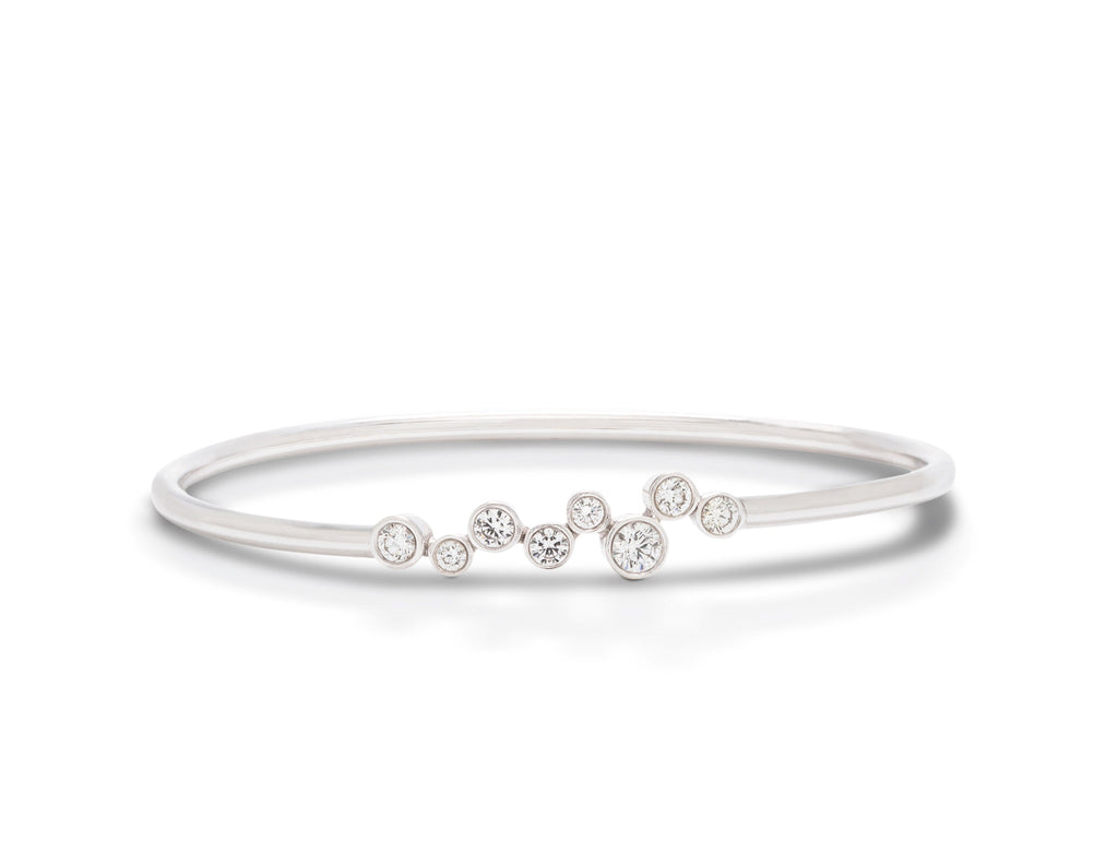 8 Diamond and White Gold Bangle Bracelet - Charles Koll Jewellers