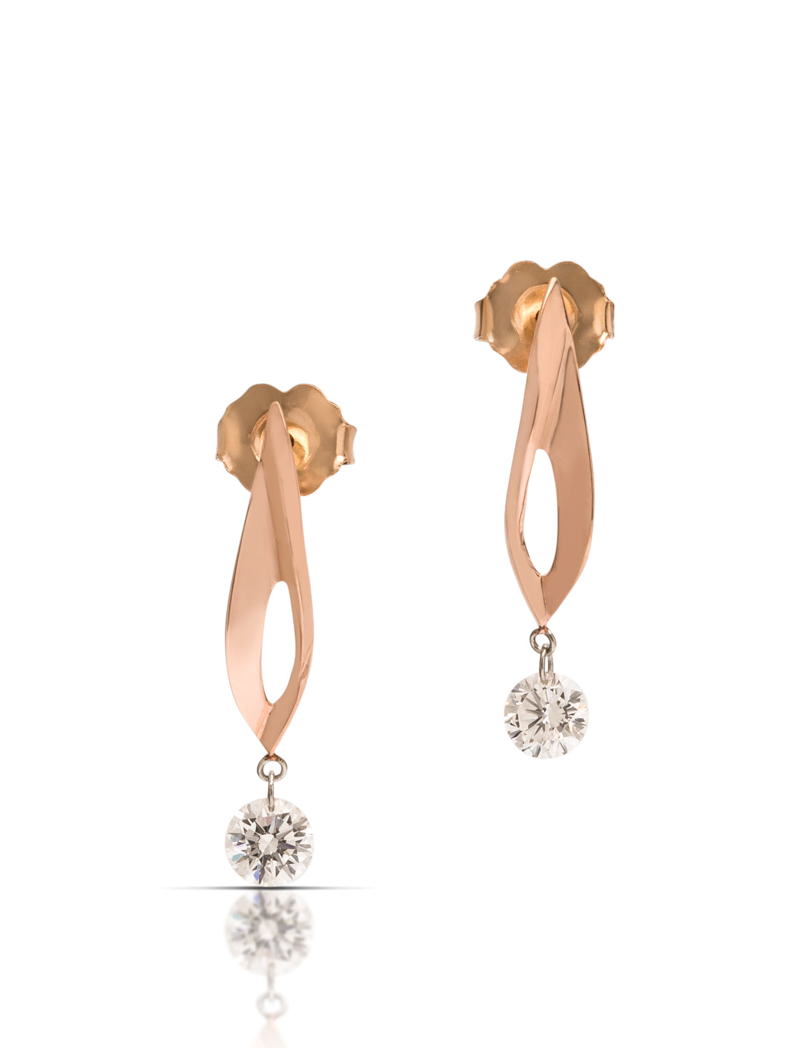 Dancing Diamond Rose Gold Earrings - Charles Koll Jewellers