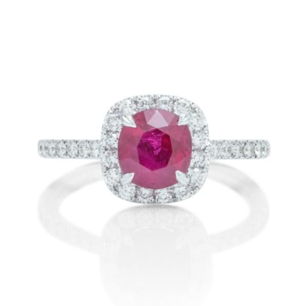 Diamond Halo Ruby Ring - Charles Koll Jewellers