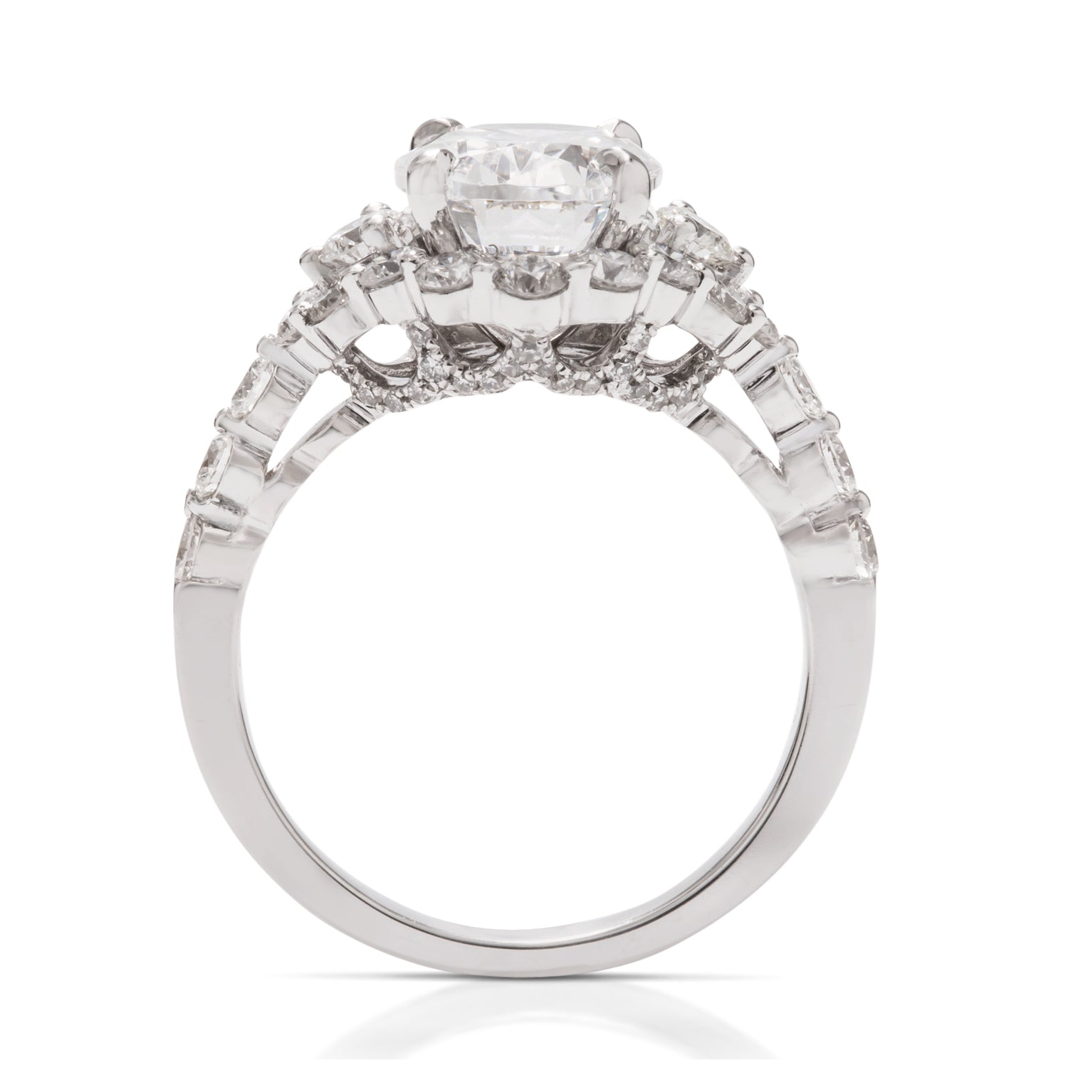 Large Diamond Halo Semi-Mount for Oval Center Stone - Charles Koll Jewellers