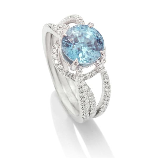 Blue Zircon and Diamond Ring - Charles Koll Jewellers