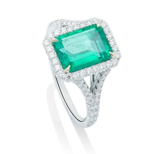 Emerald With Diamond Halo Split Shank Ring - Charles Koll Jewellers