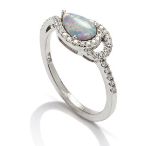 Opal and Diamond Swirl Ring - Charles Koll Jewellers