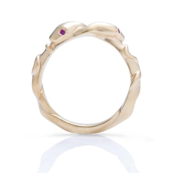 Yellow Gold With Rubies Double Snake Ring - Charles Koll Jewellers