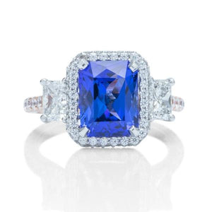 3 Stone Halo Tanzanite Ring - Charles Koll Jewellers