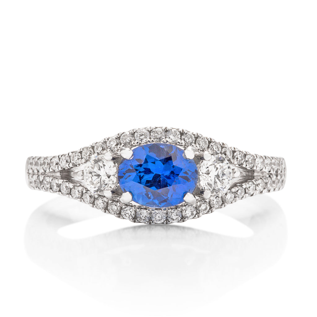 Sapphire and Diamond 3 Stone Ring - Charles Koll Jewellers