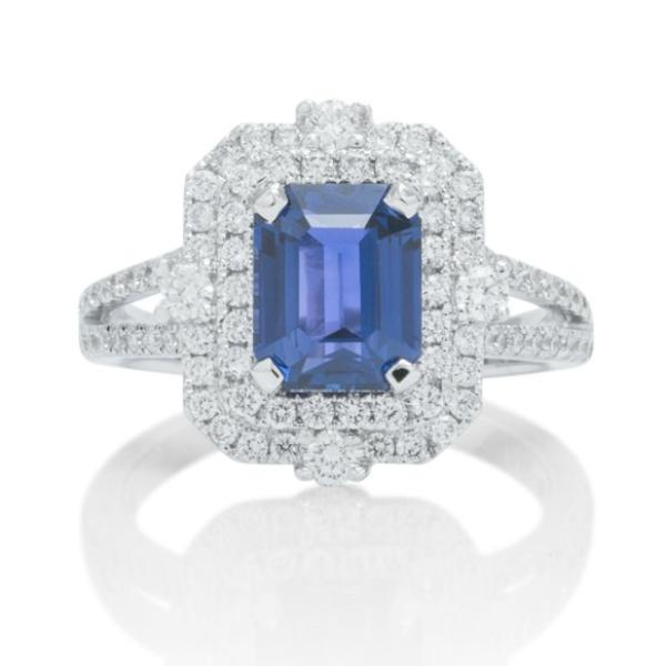 Color Changing Emerald Cut Sapphire and Diamond Ring - Charles Koll Jewellers