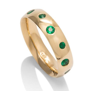 Yellow Gold Emerald Band - Charles Koll Jewellers