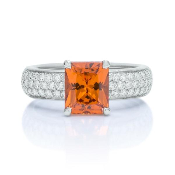 Radiant Cut Mandarin Garnet and Diamond Ring - Charles Koll Jewellers