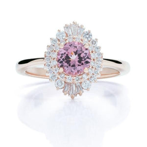 Double Halo Lotus Garnet Rose Gold Ring - Charles Koll Jewellers