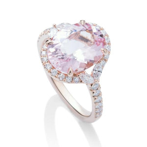 Split Halo Morganite Rose Gold Ring - Charles Koll Jewellers