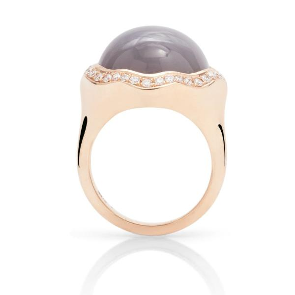 Grey Moonstone Rose Gold Ring - Charles Koll Jewellers