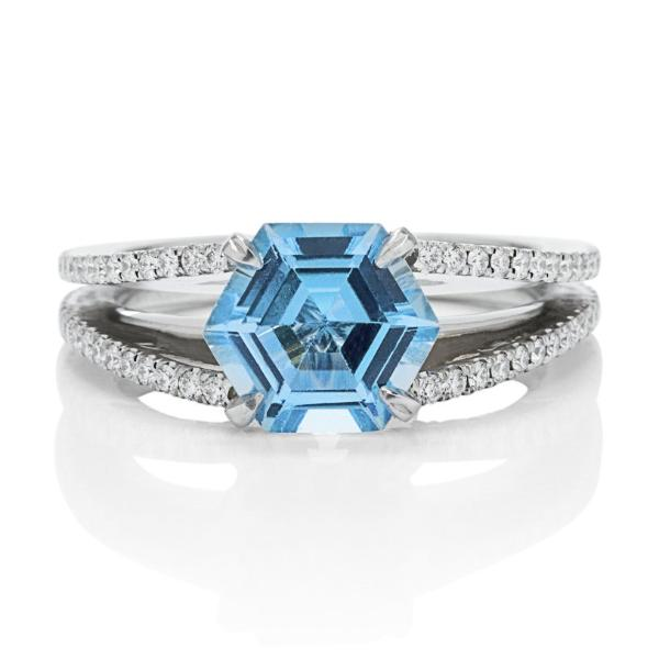 Hexagonal Blue Topaz Ring - Charles Koll Jewellers