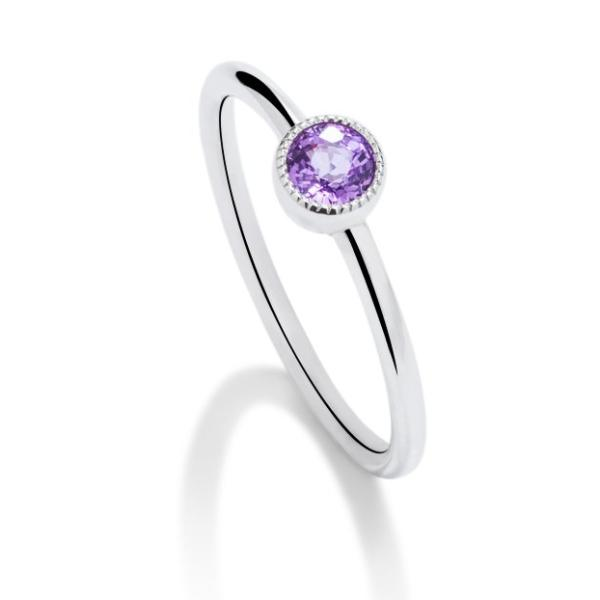 Purple Sapphire Milgrain Bezel Set Ring - Charles Koll Jewellers