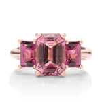 3 Stone Garnet Rose Gold Ring - Charles Koll Jewellers