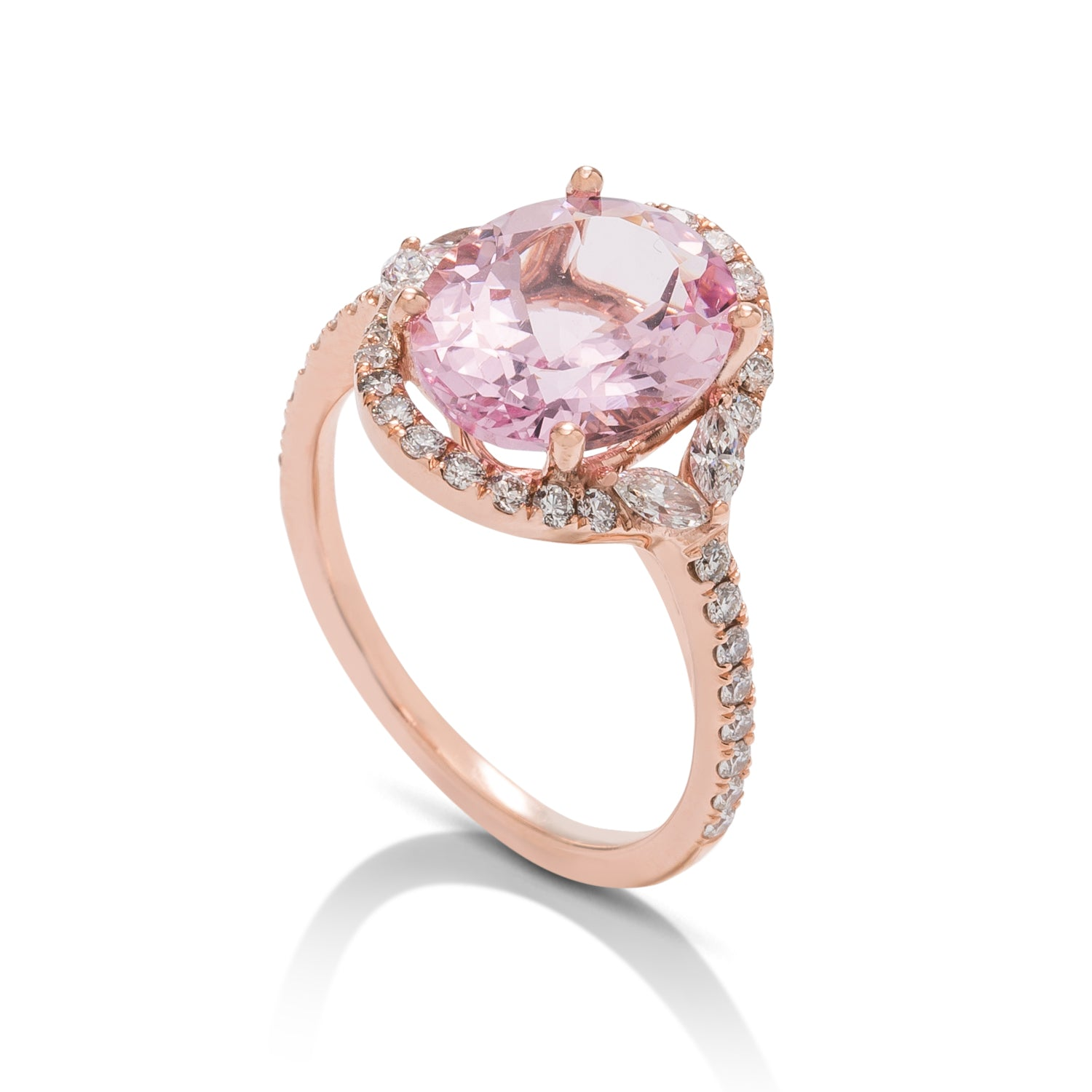 Morganite and Fancy Diamond Halo Ring - Charles Koll Jewellers