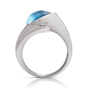 Blue Topaz and Diamond Bypass Ring - Charles Koll Jewellers