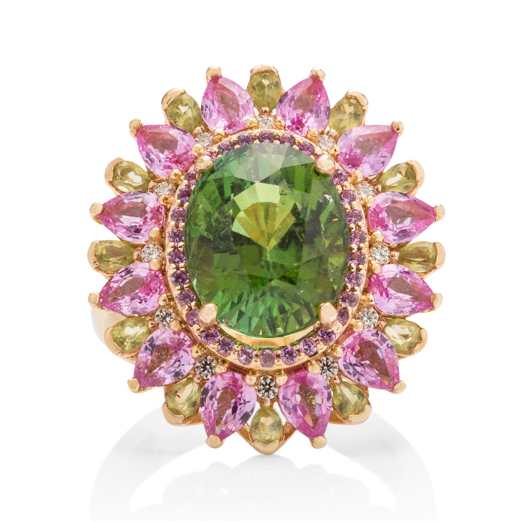 Diamond, Pink Sapphire, Peridot, and Tourmaline Ring - Charles Koll Jewellers