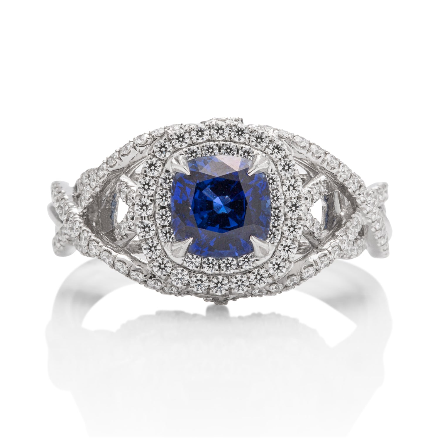Platinum Sapphire and Diamond Ring - Charles Koll Jewellers
